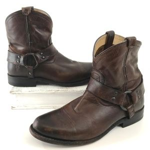 FRYE Wyatt Harness Bootie Short Dark Brown 6.5